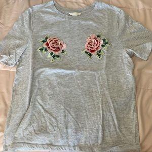 H&M grey rose boob T-shirt
